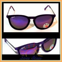 Óculos De Sol 4171 Veludo Roxo Lente Espelhada Polarizada