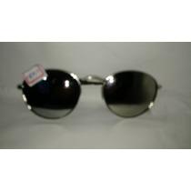 Oculos Sol Armação Prata Lentes Redondas Espelhadas