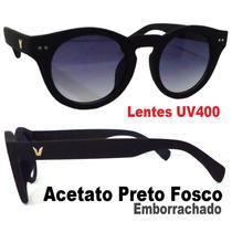 Óculos De Sol Wayfarer Arredondado Polo Uv400 Preto Fosco Ex