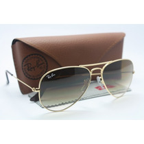 Ray Ban Aviador Lentes De Cristal Azul Degradê + Case Marron
