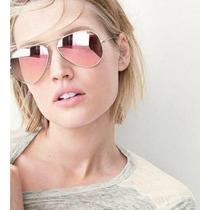 Óculos Ray Ban Aviador 3025 Com Lentes Rosa Rosê Espelhadas