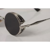 Óculos Redondo Steampunk Prata Lentes Pretas