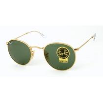 Óculos Redondo 3447 John Lennon Armação Dourado Lente Verde