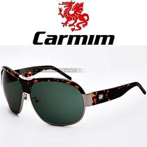 Óculos De Sol Carmim Masculino Marrom Prata Verde Aviador