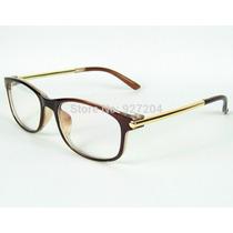 Armação De Óculos Unissex Em Marrom E Dourado Acetato Metal