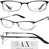 Óculos Armani Masculino Preto Prata Grau Armação Metal Novo