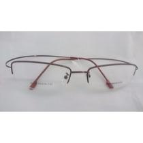 Armação P/ Óculos De Grau Meio Aro Em Titânio Titanium Bronz