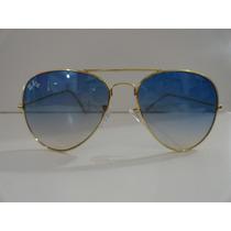 Óculos Aviador Diamante 3026 Dourado Lente Azul Degradê