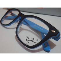 Armação Oculos De Grau Rb5285 Wayfarer Preto E Azul Ray-ban