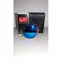 Oculos Rayban Round Dobravel Azul Espelhado - Promoção