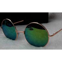 Óculos Estilo John Lennon Lentes Espelhadas Azul, Amarela
