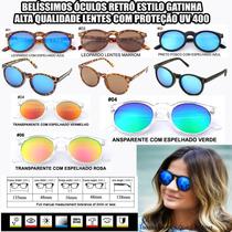 Óculos De Sol Feminino Vintage Estilo Redondo Gatinha 2015