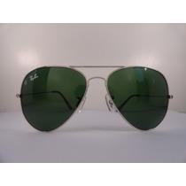 Oculos De Sol Rayban 3025 Aviador Prata Lente Verde G15