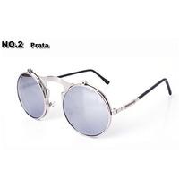 Óculos Duplo Espelhado Redondo De Sol - Prata - Vintage -
