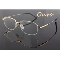 Armação De Titânio Meio Aro - Óculos Grandes E Confortáveis