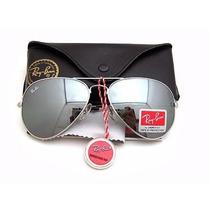 Oculos Rayban Aviador Espelhado Prata 3025 Lentes De Cristal