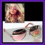 Óculos 3026 Aviador Aviator Armação Dourada Lente Rosa Rosê