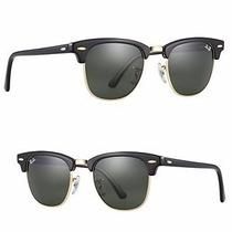 Óculos De Sol Feminino E Masculino Clubmaster Preto + Case