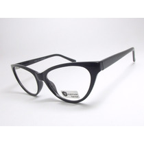 Armação De Óculos Feminino Gatinho Preto Acetato Cr22 C1 Mj