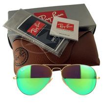 Óculos Ray Ban Aviador Dourado Lentes Espelhadas Verdes Case