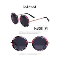 Óculos De Sol Escuro Retrô Feminino Redondo Boho