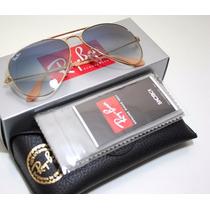 Oculos Ray Ban Aviador 3025 Azul Degradê + Case Marrom
