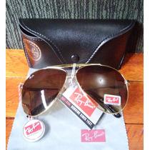 Óculos Sol Ray Ban Aviador Lente Marrom Masculino Feminino