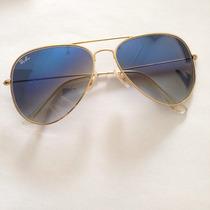 Óculos Ray Ban 3025 Aviador Dourado Azul Degradê Rb 3026