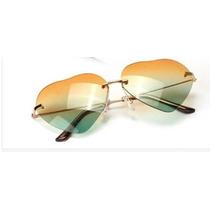 Óculos De Sol Formato Coração Degrade + Case / Última Moda