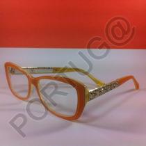 Armação Laranja Amarela Gatinha Feminina Óculos Lentes Grau