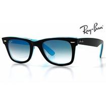 Rb 2140 Wayfarer Promoção Masculino Feminino Preto Com Azul