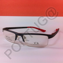 Armação Alumínio Preta Vermelha Infantil Óculos Lentes Grau