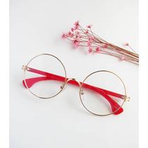Óculos Redondo Grande Vintage Dourado Armação Para Grau