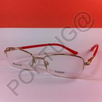 Armação Dourada Vermelha Meio Aro Feminina Óculos Lente Grau