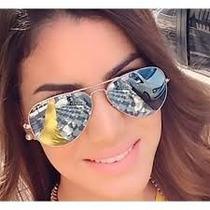 Óculos Sol Feminino Aviador Espelhado Prata C/case E Flanela