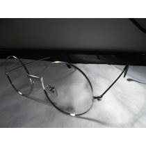 Armação Prata/óculos Redondo 45 Mm Sem Lentes Para Grau