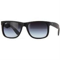 Óculos Rb4165 Justin Preto Fosco Lentes Degrade.