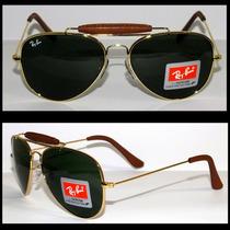 Óculos Caçador 3422q Dourado Lente Verde Couro Marrom
