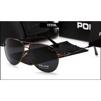 Óculos De Sol Aviador Polarizado Police Marrom 100% Uva Uvb