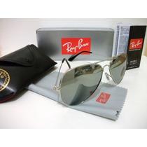 Oculos De Sol Aviador 3025 Prata Espelhado