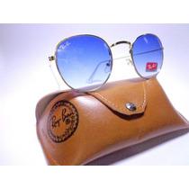 Óculos De Sol Rb3447 Round Lente Azul Degrade Frete Gratis