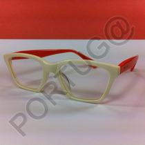 Armação Creme C/ Laranja Quadrada Gatinha Óculos Lentes Grau