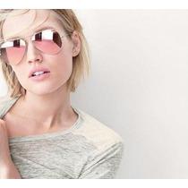 Óculos Aviador 3025 3026 Rosa Espelhado Feminino E Masculino