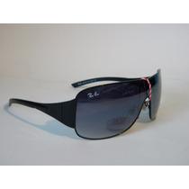 Óculos De Sol Rb3321 Máscara Preto Lente Fume Degrade
