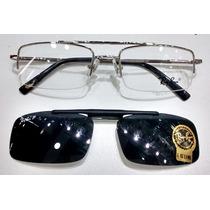 Armação Oculos Grau Sol Rb8569 Clipon Quadrado Prata Silver
