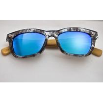 Óculos Solar Lougge Madeira Espelhado Cinza E Azul