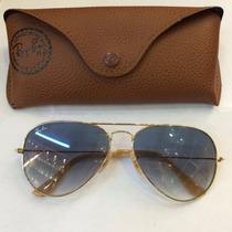 Óculos Rayban Aviador 3026 Dourado Azul Degrade Original