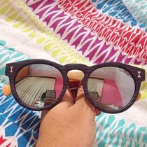 Óculos Illesteva Amadeirado Espelhado Azul Prata Madeira