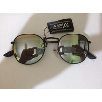 Óculos De Sol Redondo Preto Lente Espelhado Espelhadas
