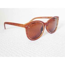 Oculos De Sol Estilo Madeira Masculino Feminino Marrom Claro